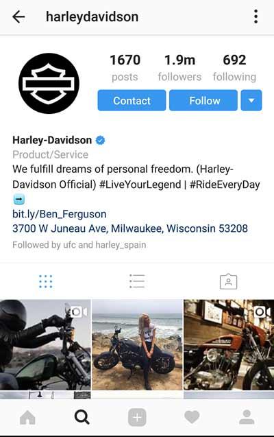 Ejemplo de perfil atrayente en Instagram