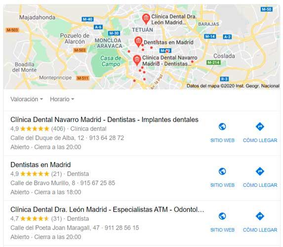Cómo mejorar tu posición en Google Maps si eres dentista
